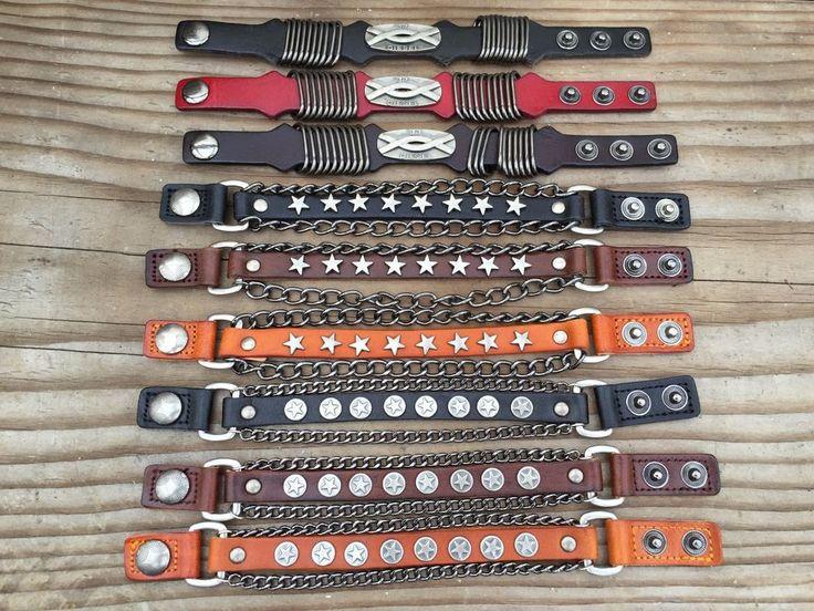 Punk Rock Wide Leather Men's Cuff Bangle Bracelet Adjustable Wristband USA…
