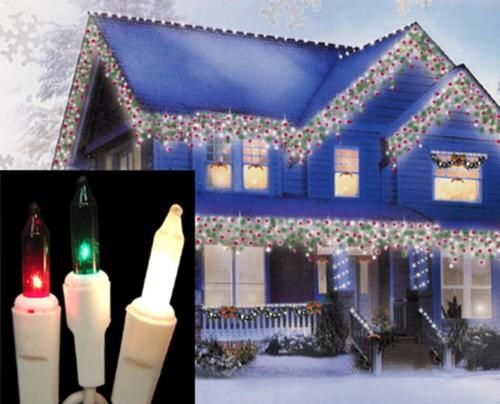 Set of 100 Red Green & Frosted Clear Mini Icicle Christmas Lights ...