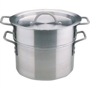 """Aluminium Double Boiler 4 litre capacity. 24cm (9.5"""") diameter. by Vogue. $107.45. No spout.. Ideal for melting chocolate and cooking delicate sauces and custards."""