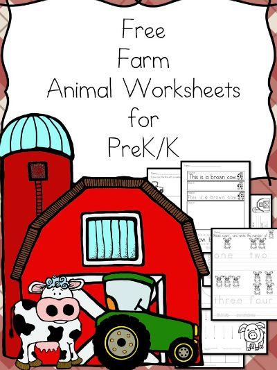 Free Farm Animals Worksheets for Prek/K