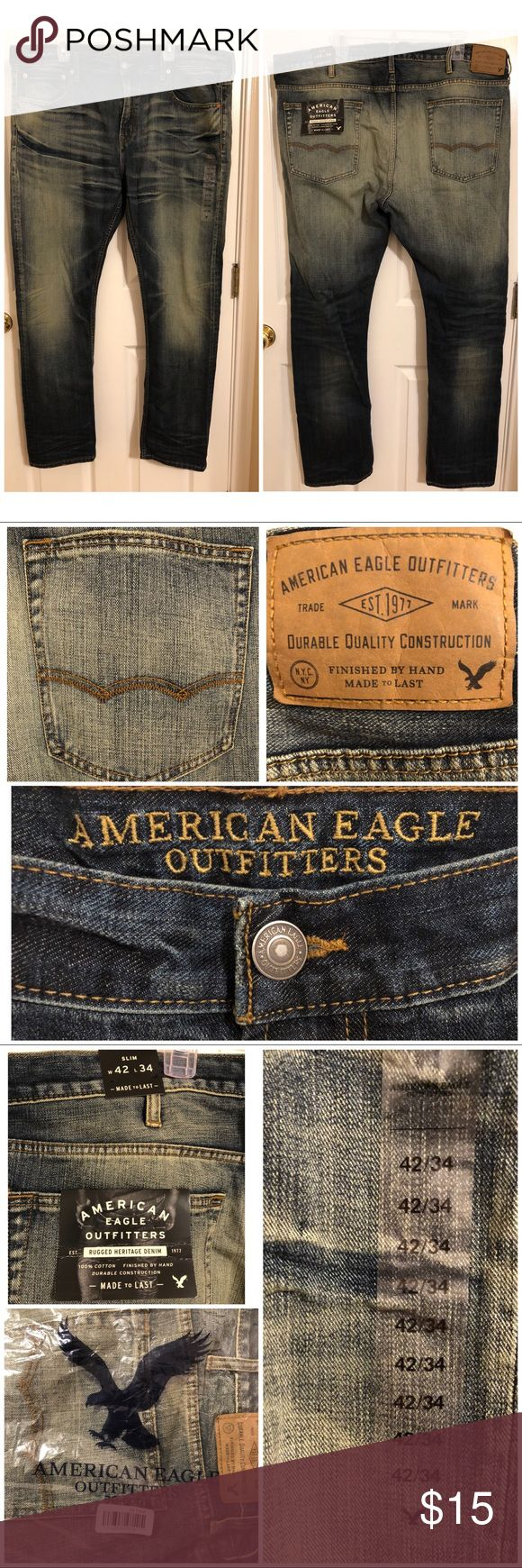 Men's American Eagle Outfitters jeans NWT Men's American Eagle Outfitters denim jeans. Size 42/34 Slim fit. In plastic packaging from online order. PERFECT condition. NO stains, snags, or tears. Offers welcome!! American Eagle Outfitters Jeans Slim