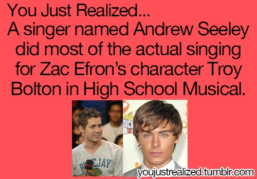 "Only for the first movie. And it was both of their voices mixed together. It was because Zac's voice didn't sound ""young enough"" for his character. But by the second movie, it was Zac singing. :)"