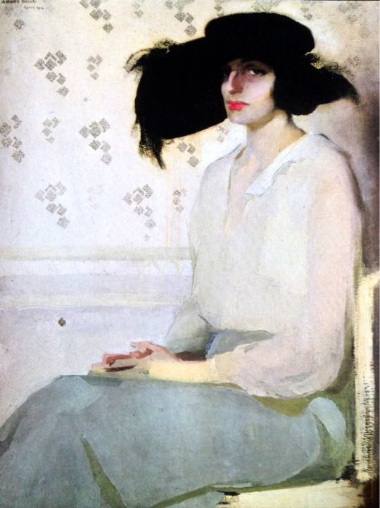 Amedeo Bocchi  (1883 - 1976)  Portrait  of  a Lady, 1914 - Oil on canvas