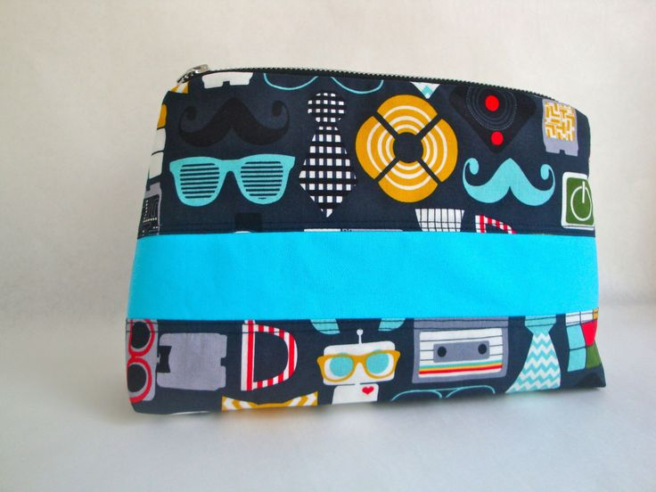 Mens funky   cotton  Wash Bag - handmade - toiletry bag -  gift- boys wash bag - funky mens wash bag by GerdaBags on Etsy