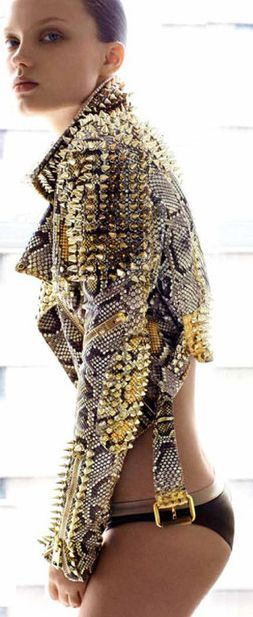 The short jacket is tough...you really don't need alot of accessories with it, but some spike studs...I would pair it with a black sassy dress...Burberry Python Jacket: