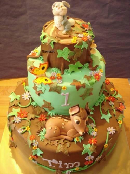Bambi first birthday cake