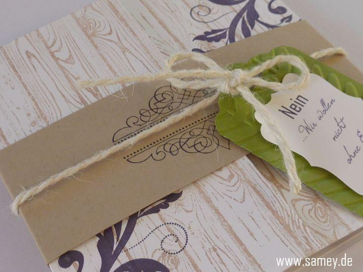 Individuelle Papeterie, Auftragsarbeit, Einladung Hochzeit, Rustikal,  Aubergine, Limone, Stampin´