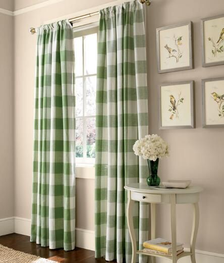 Soft green checked curtains in linen from Country Curtains - add a fresh look at the window!