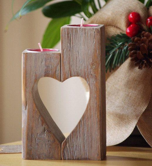 Деревянный подсвечник старинные Сердце свечи на WoodMetamorphosisUK