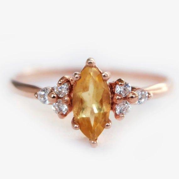 Marquise Cut Citrine Silver Minimalist Ring November Birthstone Jewelry Natural Yellow Citrine Ring
