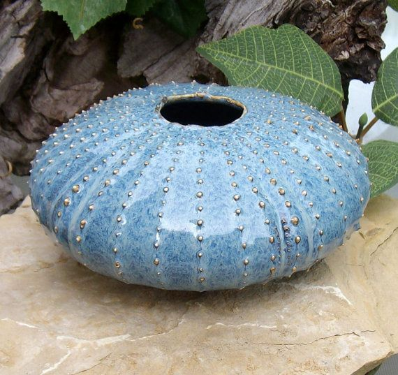 Stormy Blue Sea Urchin Ikebana Pot Flower Vase Handmade Studio Art Pottery From Earth N