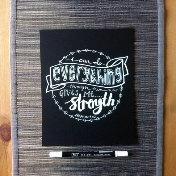 Handwritten chalkboard bible verse 'I can do everything through him who gives me strength' Philippians 4 v 13