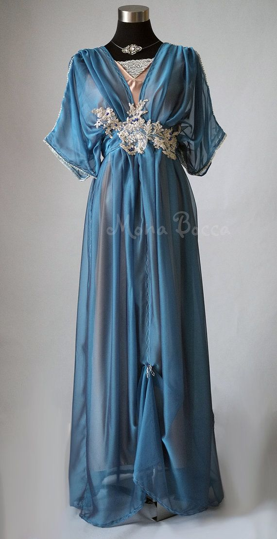 1912 Edwardian plus size blue dress handmade in England by MonaBocca