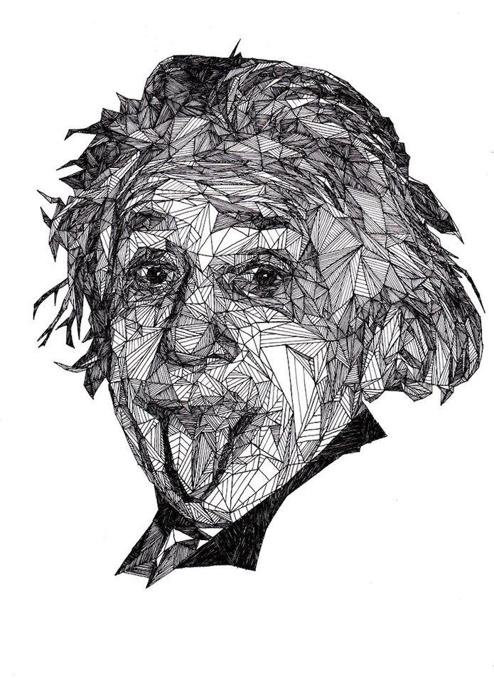 Pen drawings by Josh Bryan. Albert Einstein