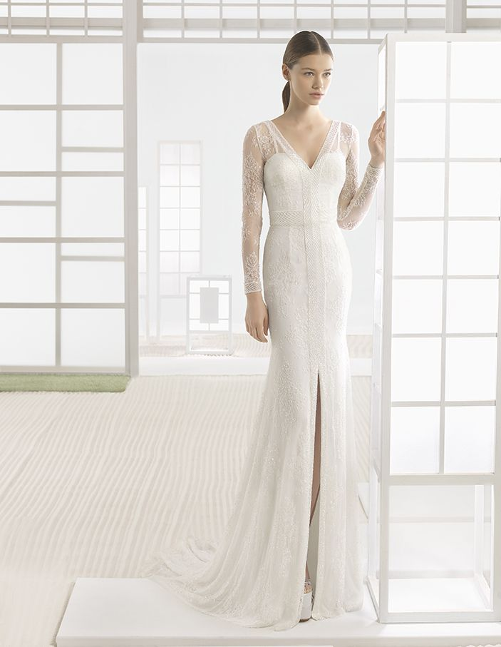 Winnie - Beaded lace column dress with V-neck, V-back and front opening, in natural.