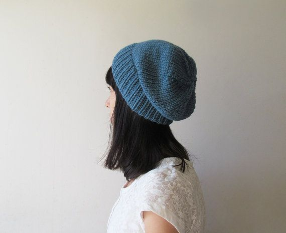Storm Blue Slouchy Hat Mens Slouchy Beanie Hand Knit Chunky
