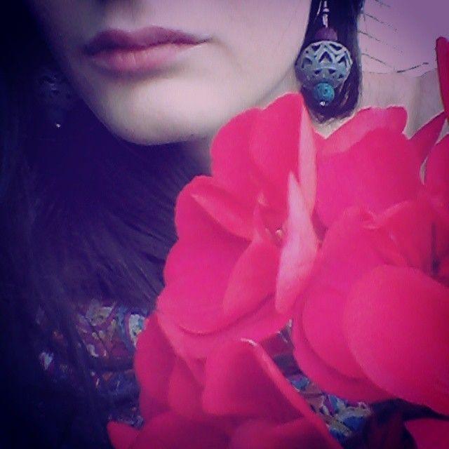 #χειροποιητα_σκουλαρικια #λουλουδια #φουξια  #vintage