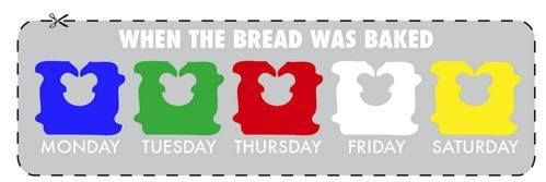How Fresh Is it? Here is a Bread tie guide to show you when the bread in your stores was actually baked. (Sometimes they use long metal trash-bag style ties, but the colors follow the same chart!)