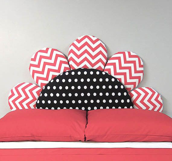 Coral Chevron Fabric Upholstered Headboard - Kids Headboard - Girls Headboard - Upholstered Headboard- Twin or Full Size