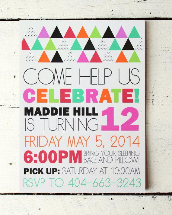Custom Girls Birthday Invitation Modern by WhenItRainsShop on Etsy, $18.00