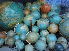 A worldly collection of globes.  Do you collect globes?
