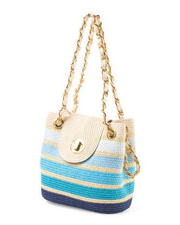 Ombre+Striped+Shoulder+Bag