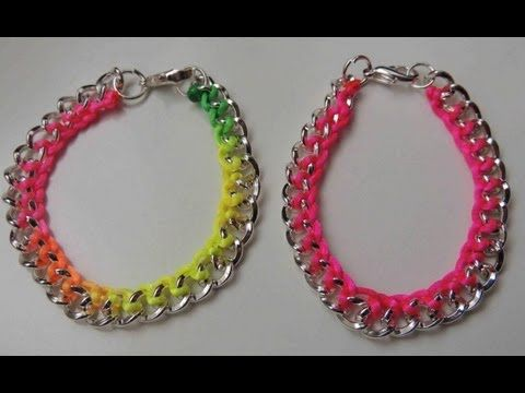 DIY Tutorial Pulsera fluor con cadena. Bracelet chain Fluor.