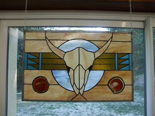 Cow Skull Panel - by Cheryl Oakley