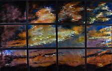 "Sunset in 12 Panels by Cynthia Miller (Art Glass Wall Sculpture) (34"" x 54"")"