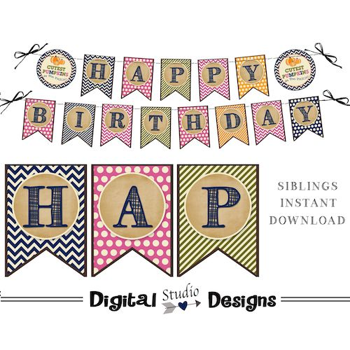 Pumpkin Patch Happy Birthday Banner – Siblings & Twins Birthday Party Banner – INSTANT DOWNLOAD – Pennant 5×7 Banner – Printable – DIY –