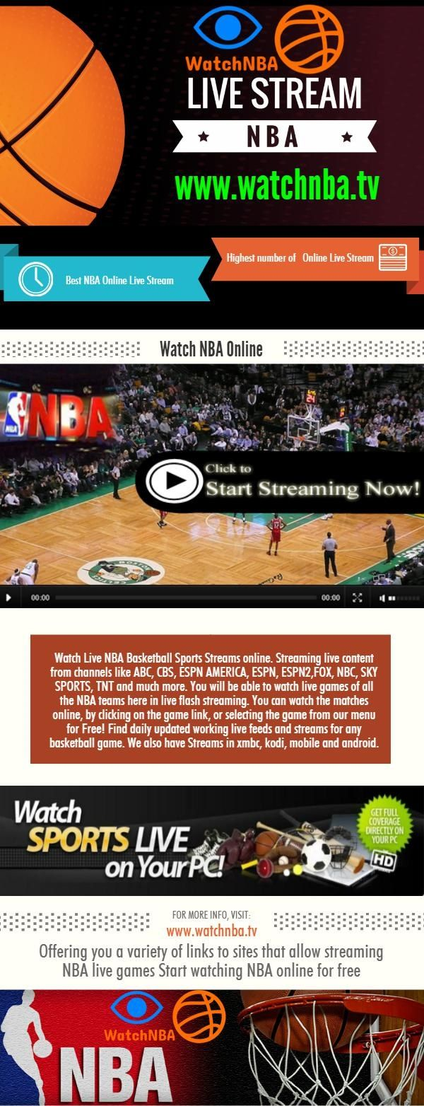 Watch Live NBA Basketball Sports Streams online. Streaming live content from channels like ABC, CBS, ESPN AMERICA, ESPN, ESPN2,FOX, NBC, SKY SPORTS, TNT and much more. You will be able to watch live games of all the NBA teams here in live flash streaming. You can watch the matches online, by…  http://watchnbatv.livejournal.com/740.html