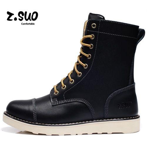 Z.suo™  Go get Korean Korean fashion men boots work boots UK waves of Doc Martens boots genuine leather outdoor shoes men