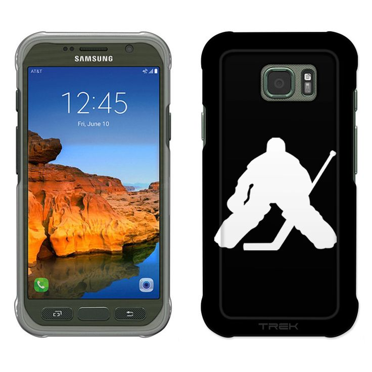 Samsung Galaxy S7 Active Silhouette Ice Hockey Goalie on Black Slim Case