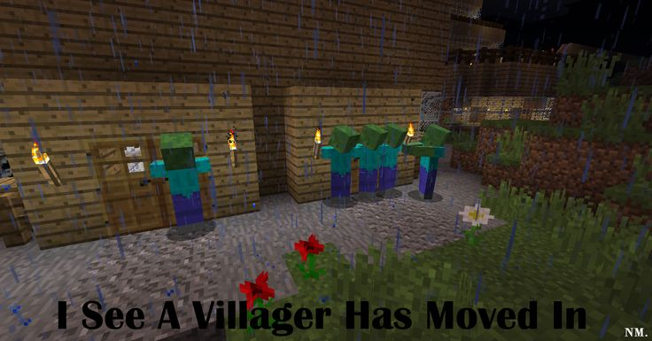 Minecraft Zombies and Villagers
