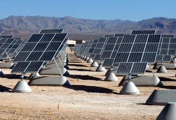 Chinese technology has a lot of solar pannels along the ground for energy.