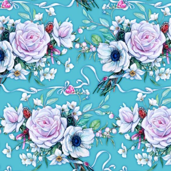 Seamless composition with wedding bouquet on blue background by Maria Rytova  #pattern #textile #background #backing #paper #work #纹样 #damask #арт #картинки #picture #decoupage #декупаж #дамаск #узоры #barok #baroque #wallpaper #design #卷草 #flower #图案 #фон #print #принт #printable #papel #ornament  #seamless #golden #luxury #surface #rose #floral #decorative #decor #vintage #tile #бордюр #border
