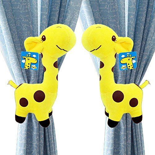 Angelboy 2pcs Giraffes Curtain Tieback, Car Seat, Stroller, Crib Toys Collector Set Gift, Baby, Newborn, Child, Windows Holdback,window Curtain Tiebacks Curtain Buckle Accessories (Yellow). curtain clasp,Set of 2 ,11inch high, Washable. standard curtain tieback length,and You can adjust the length of the curtain Tieback by Loop a Loops , in order to achieve a suitable tightness. Elastic safety hoop on the back of their body for easy wall attachement as a curtain tieback. Child friendly...