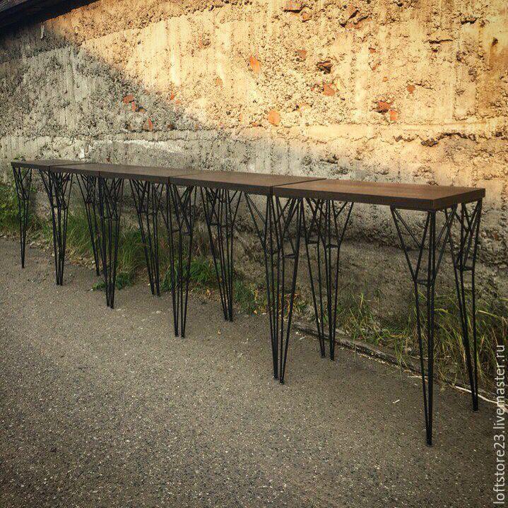 Купить Стол визажиста SOHO. - коричневый, стол, купить стол, высокий стол, мебель из металла