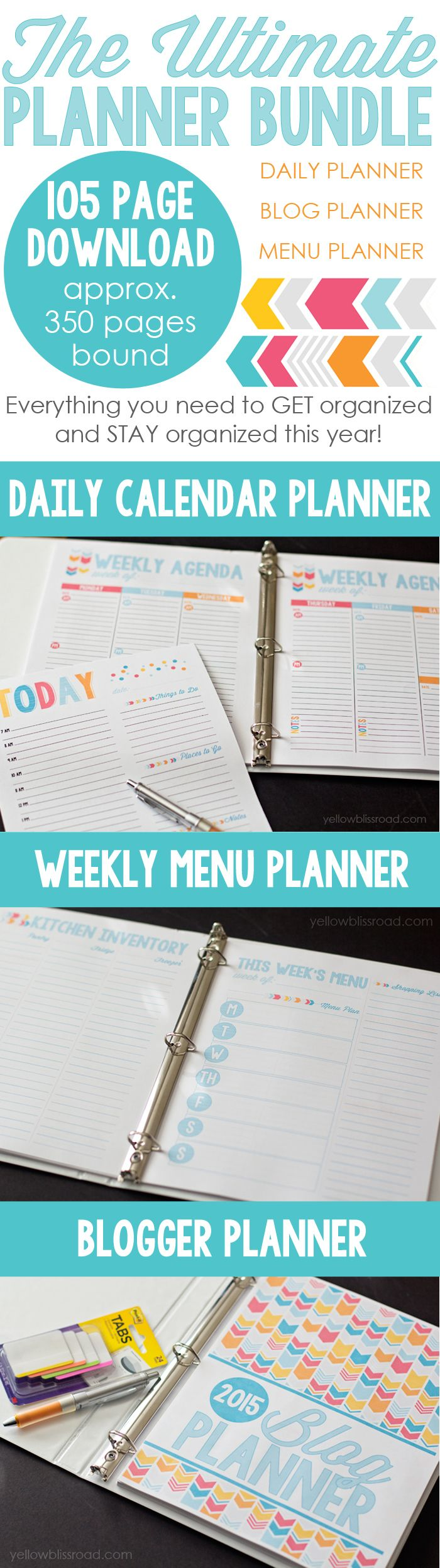 Awesome yearly planner, blog planner and menu planner.  Everything you need to stay organized!