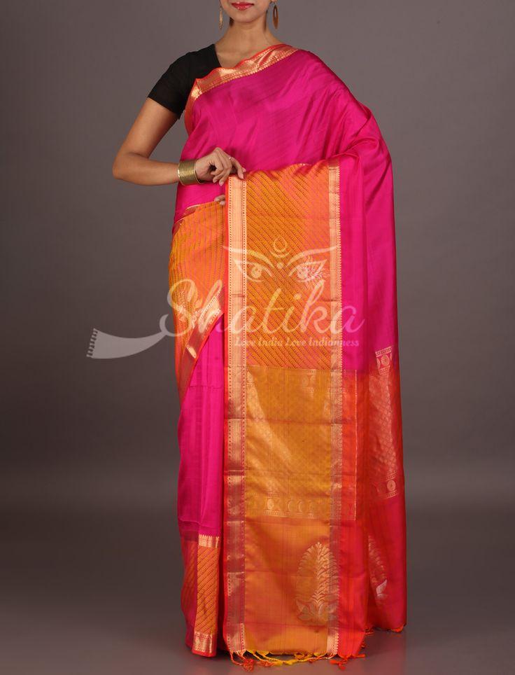Riddhi Blooming Pink With Broad Border Big Motifs Pallu Pure Mulberry Silk Saree