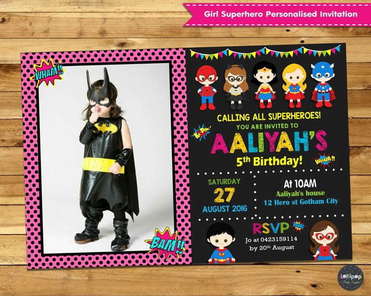 SUPERHERO GIRL PERSONALISED INVITATIONS INVITES PHOTO SUPER HERO PINK CUSTOM #PersonalisedInvitations #Birthday