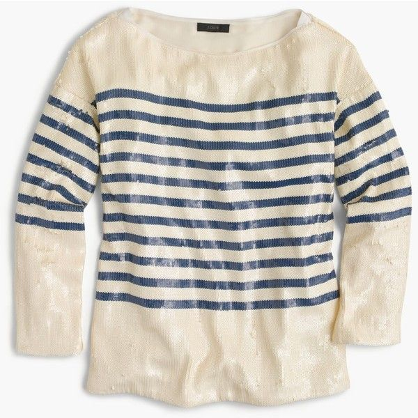 J.Crew Collection striped sequin shirt ($298) ❤ liked on Polyvore featuring tops, sequin shirt, j crew tops, summer tops, j crew shirts and striped sequin top