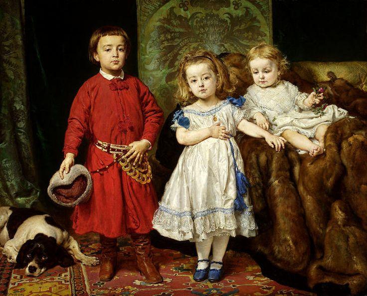 """Portrait of Artist's Children"" (1870) by Jan Matejko (Polish,1838-1893), oil on canvas, 127.5 x 160 cm, National Museum, Warsaw."