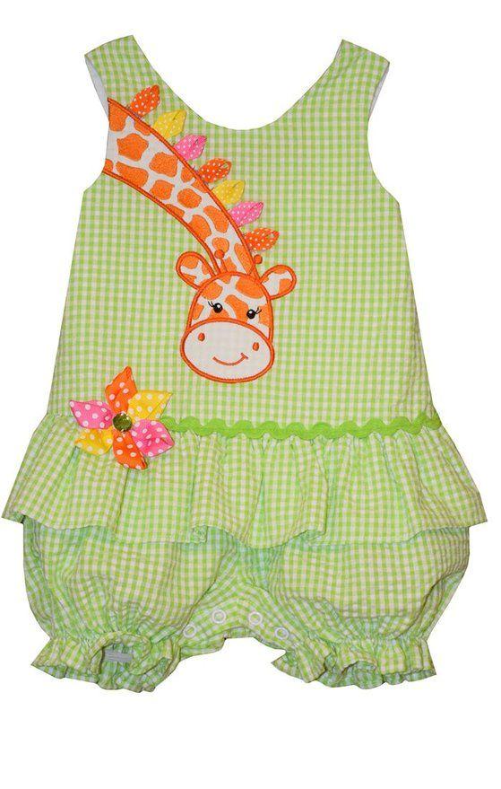 Bonnie Baby Girl Giraffe Seersucker Bubble Romper (0m-24m) (6-9 months)
