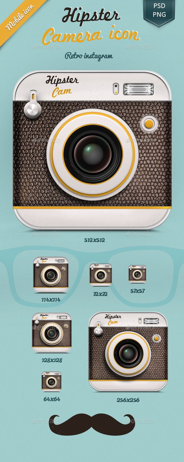 Hipster Camera icon. A nice Icon for your next Application or Design. Youll download a fully layered psd file and you can edit all