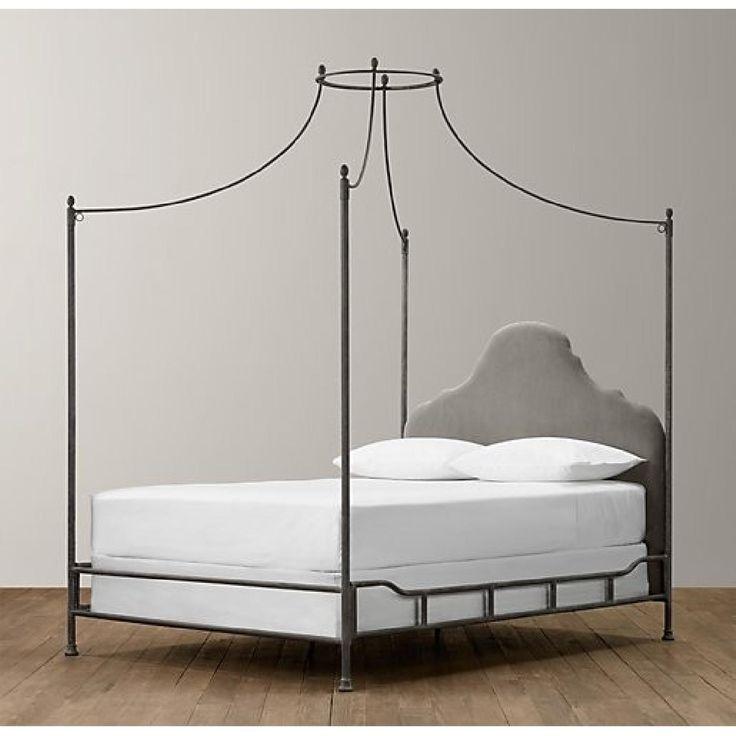Restoration Hardware Allegra Iron Canopy Bed In Pebbled Grey