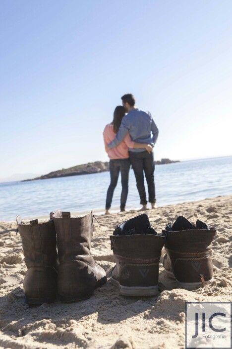 Pareja playa amor love couple beach