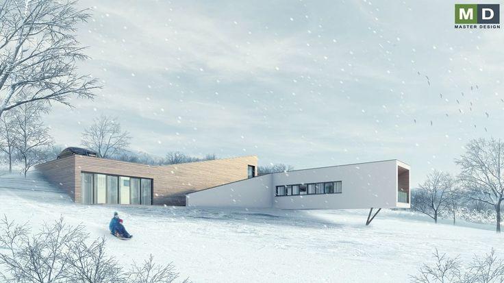 Typový dům ve svahu 2 na sloupech s velkým oknem do zahrady