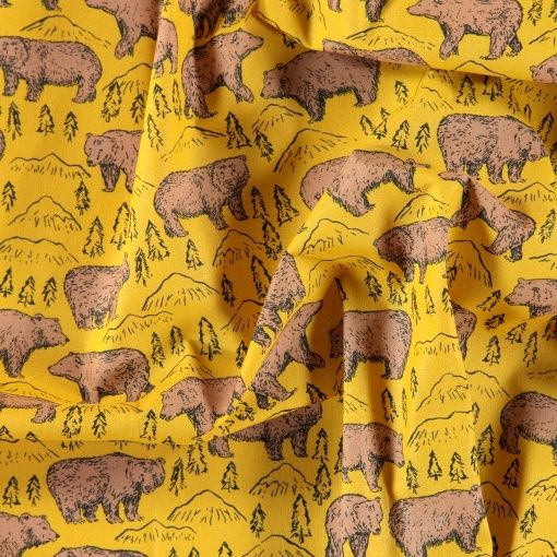 Cotton fabric curry wtih brown bear - Stoff & Stil