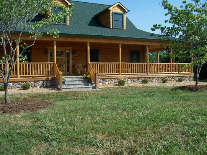 167 best images about one story ranch farmhouses with wrap for Log home porches